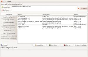 Das Programm FSlint kann unter anderem Dateien mit identischem Inhalt finden. Dabei spielt es keine Rolle, ob die Dateien unterschiedliche Namen oder Erstellungsdaten haben.
