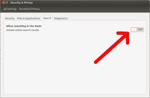 Deaktivierung der Online-Suchergebnisse in der englischsprachigen Version von Ubuntu.