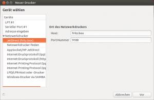 """Drucker wurde im Netzwerk gefunden, und wird als """"JetDirect (fritz.box)"""" angezeigt."""