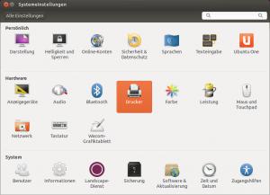 """Der Bereich """"Drucker"""" in den Systemeinstellungen von Ubuntu."""