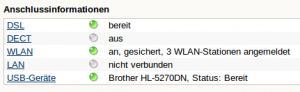 In den Verbindungsinformationen auf der Startseite der FRITZ!Box sollte der Drucker als USB-Gerät aufgeführt sein.