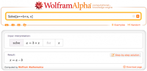 """Die auf WolframAlpha angezeigte Lösung für das Problem """"Löse die Gleichung a = b + x nach x auf"""""""