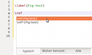 Beim tippen des LaTeX-Befehls \ref stellt TeXstudio standardmäßig eine Liste  der vorhandenen labels zur Verfügung (hier: Fig:test). In wenigen Schritten kann man diese Liste auch beim tippen von eigenen Befehlen anzeigen lassen.
